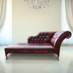 Oxblood Leather Chesterfield Chaise Lounge day Bed | DesignerSofas4U
