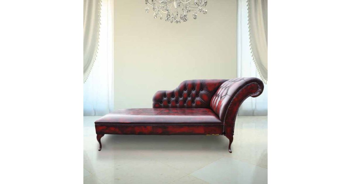 Oxblood Leather Chesterfield Chaise Lounge Day Bed