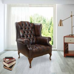 Chesterfield Mallory Buttoned Seat Flat Wing Queen Anne High Back Wing Chair UK Manufactured Antique Brown