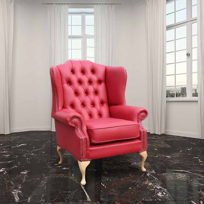 Flame Red Chesterfield Mallory Flat Wing Chair