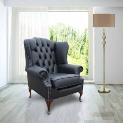 Chesterfield Mallory Flat Wing Queen Anne High Back Wing Chair UK Manufactured Black Leather