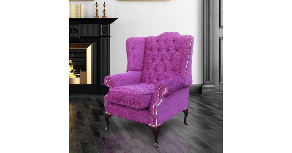 Carlton fuchsia chesterfield mallory wing chair for Mallory material