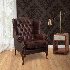 Chesterfield Mallory High Back Wing Chair UK Manufactured Hand Dyed Old English Dark Brown Leather