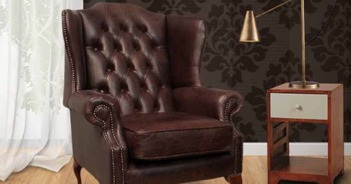 Brown Chesterfield Mallory High Back Wing Chair