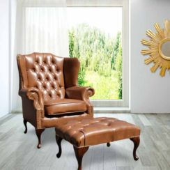Chesterfield Mallory High Back Wing Chair UK Manufactured Old English Tan Leather With Matching Footstool Brass Studs