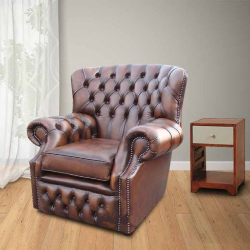 Chesterfield Monks High Back Wing Chair Antique Brown UK Manufactured Armchair