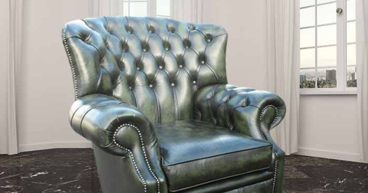 Green Chesterfield Monks High Back Wing chair : DesignerSofas4U