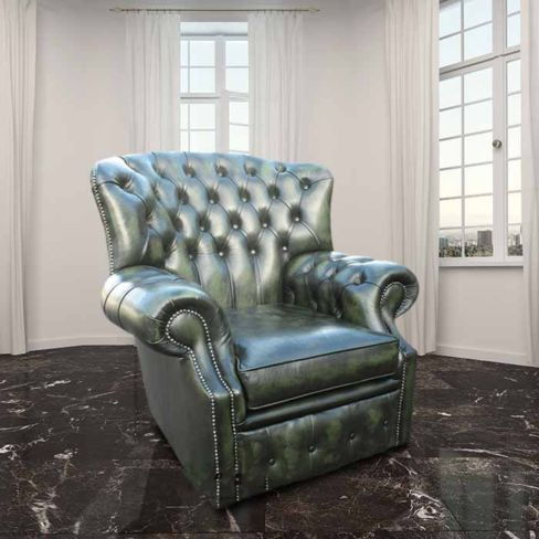 Green Chesterfield Monks High Back Wing chair | DesignerSofas4U