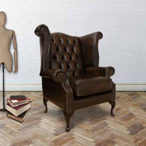 Chesterfield Newby High Back Wing Chair UK Manufactured Antique Brown