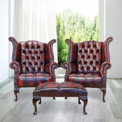 Red Antique Chesterfield Queen Anne Wing chair + Footstool | DesignerSofas4U