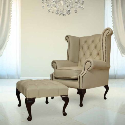 Chesterfield Ivory Leather Queen Anne Wing chair + Footstool | DesignerSofas4U
