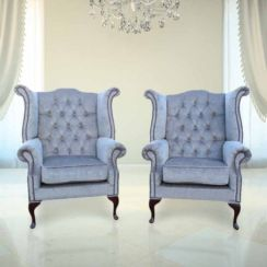 Chesterfield Offer Pair Fabric Queen Anne High Back Wing Chairs Harmony Dusk Grey Velvet