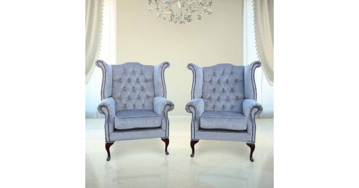 Perla Grey Chesterfield Pair Fabric Wing Chair