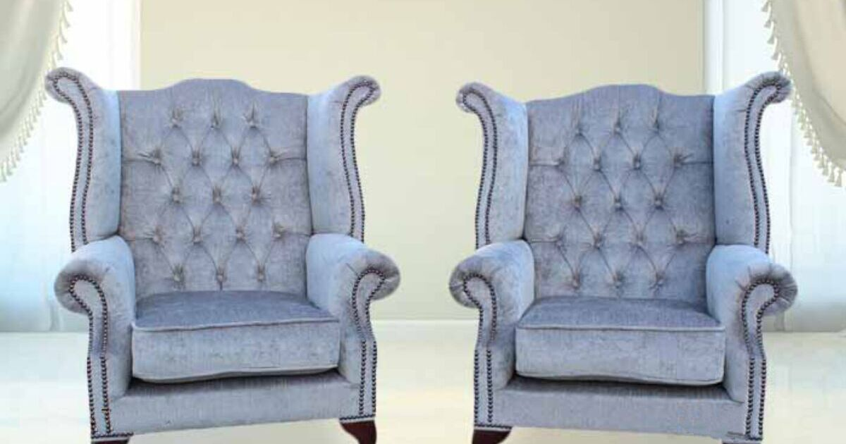 Grey Velvet High Back Dining Chairs: Perla Grey Chesterfield Pair Fabric Wing Chair