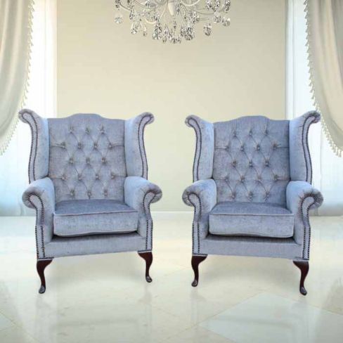 Chesterfield Offer Pair Fabric Queen Anne High Back Wing Chairs Perla Illusions Grey Velvet