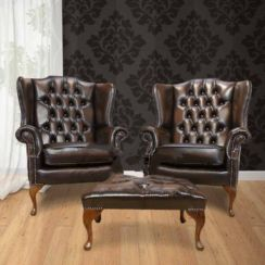 Chesterfield Offer Pair Mallory Flat Wing High Back Armchair Footstool