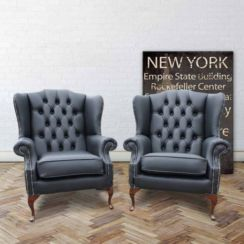 Chesterfield Offer Pair Mallory High Back Wing Chairs Black Leather