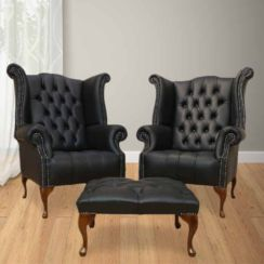 Chesterfield Offer Pair Queen Anne Buttoned High Back Wing Chair Footstool Black Leather