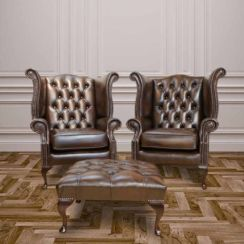 Chesterfield Offer Pair Queen Anne High Back Wing Chair Footstool Antique Brown