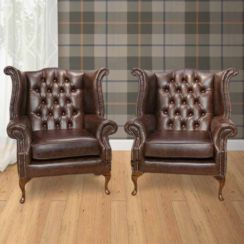 Chesterfield Offer Pair Queen Anne High Back Wing Chair Oil Pull Up Leather Brown