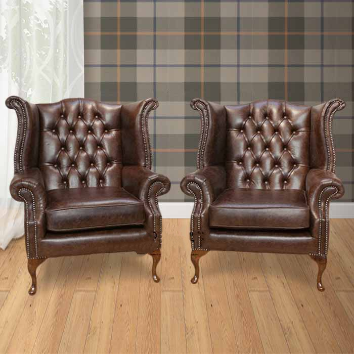 Brown Chesterfield Pair High Back Wing Chair Designersofas4u