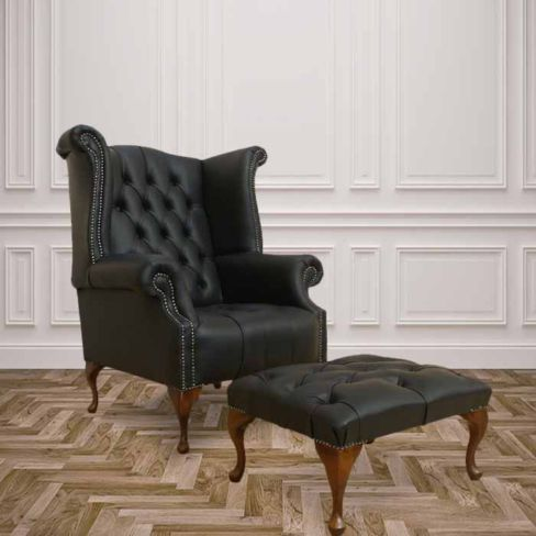 Orignal Chesterfield High Back Wing Chair + Footstool | DesignerSofas4U