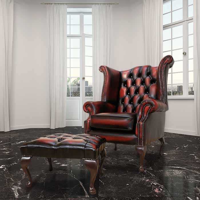Oxblood Chesterfield Wing Chair Footstool Designersofas4u