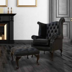 Chesterfield Offer Queen Anne High Back Wing Chair Black Leather Footstool