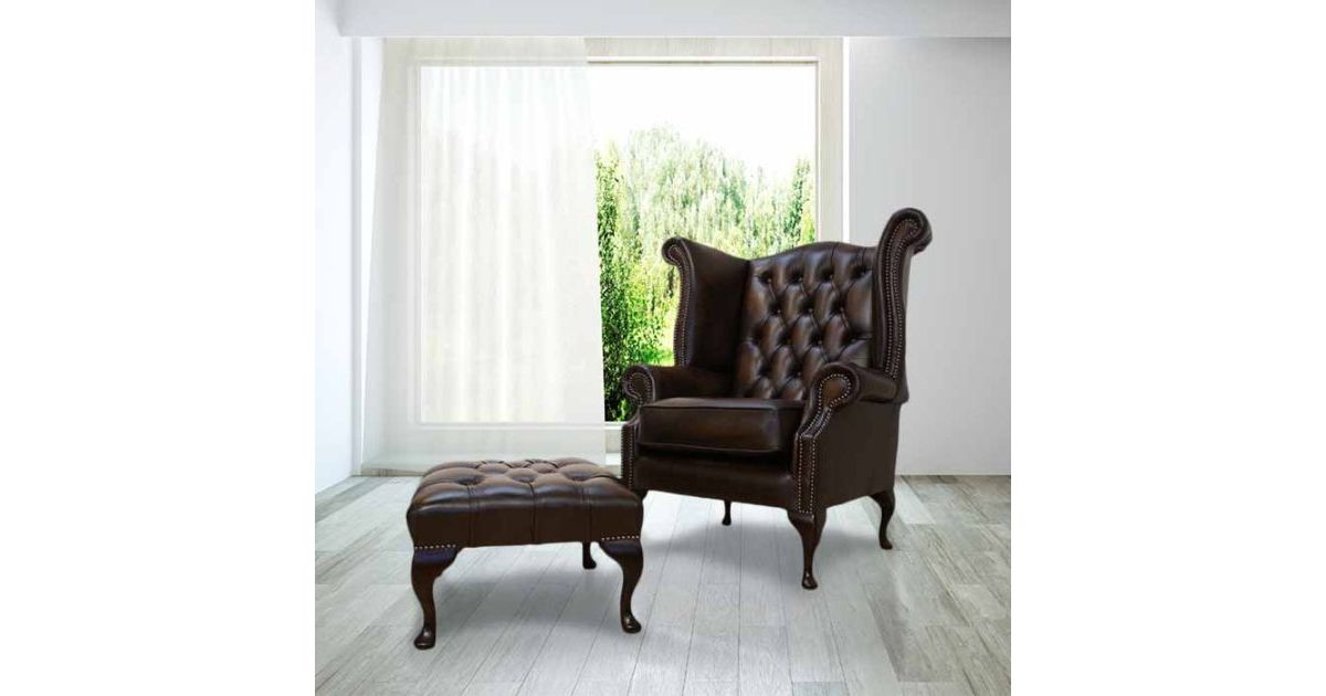 Antique Brown Leather Chesterfield Queen Anne High Back Wing Chair +  Footstool Offer | DesignerSofas4U