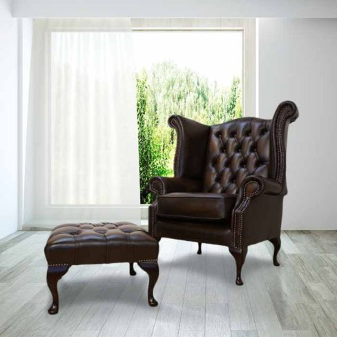 Chesterfield Offer Queen Anne High Back Wing Chair Footstool Antique Brown Leather