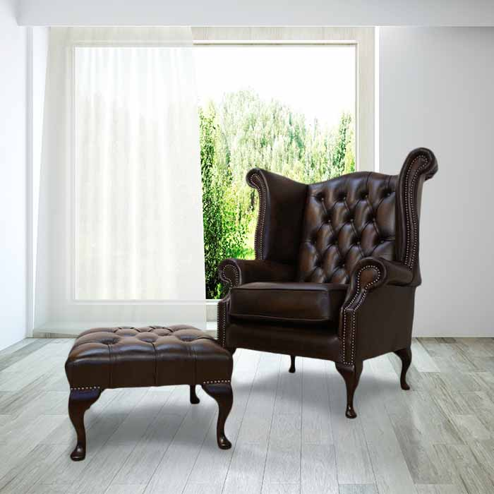 Antique Brown Leather Chesterfield Queen Anne High Back Wing Chair +  Footstool Offer