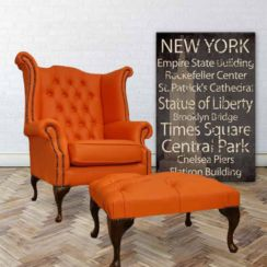 Chesterfield Offer Queen Anne High Back Wing Chair Mandarin Orange Leather Footstool