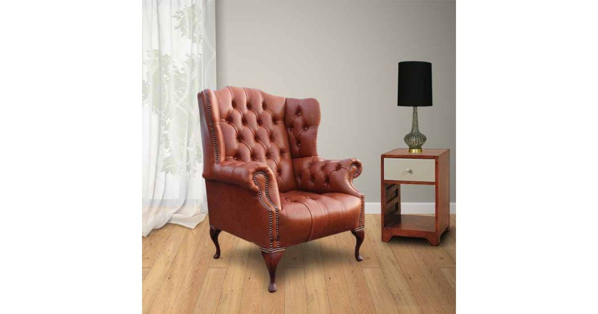 Saddle Chesterfield Oxford High Back Wing Chair