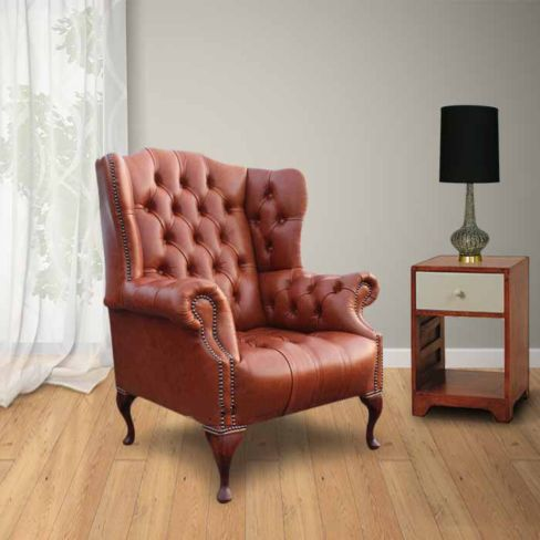 Chesterfield Oxford High Back Wing Chair UK Manufactured Old English Saddle