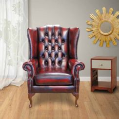 Chesterfield Prince's Mallory Flat Wing Queen Anne High Back Wing Chair UK Manufactured Antique Oxblood