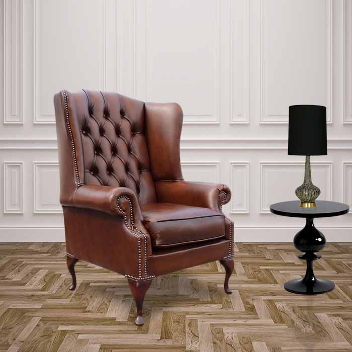 Chesterfield Prince S Mallory Flat Wing Queen Anne High Back Wing Chair Uk Manufactured Antique Tan Leather
