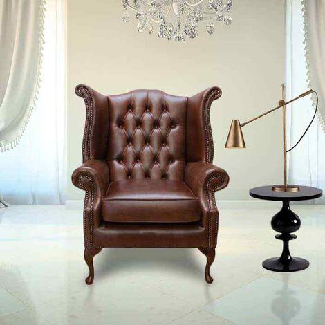 Hazel Chesterfield Queen Anne Wing Chair Designersofas4u