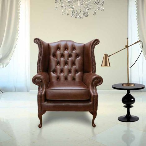 Chesterfield Queen Anne High Back Wing Chair UK Manufactured Old English Hazel