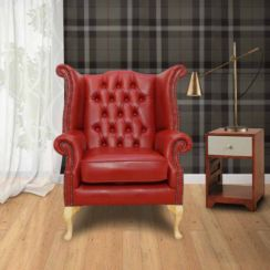 Chesterfield Queen Anne High Back Wing Chair China Red