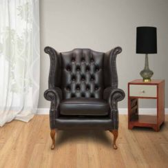 Chesterfield Queen Anne High Back Wing Chair Dark Brown Bournville