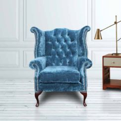 Teal Chesterfield Queen Anne High Back chair | DesignerSofas4U