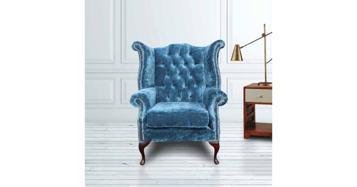 Teal Chesterfield Queen Anne High Back Chair Designersofas4u