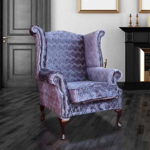 Chesterfield Queen Anne High Back Wing Chair Fantasia Violet Velvet