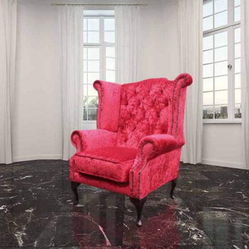Chesterfield Queen Anne High Back Wing Chair Plush Red Velvet