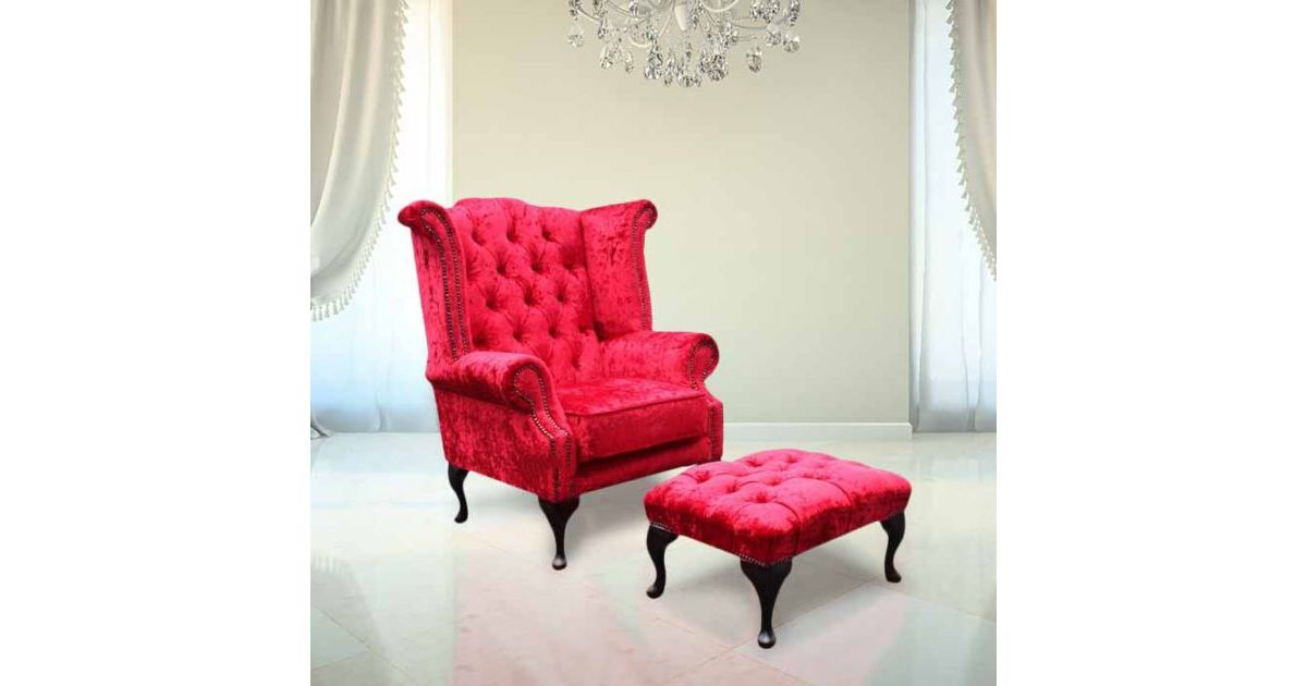Velvet Chesterfield Wing Chair Footstool Designersofas4u