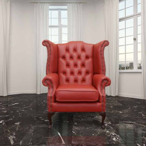 Chesterfield Queen Anne High Back Wing Chair Poppy Red