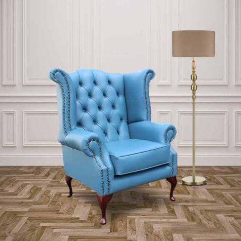 Chesterfield Queen Anne High Back Wing Chair Soft Vele Cambridge Blue Leather