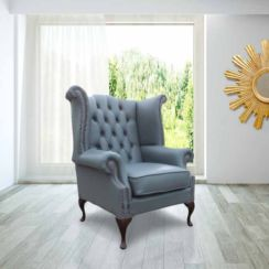Belvedere Chesterfield Leather Queen Anne Armchair