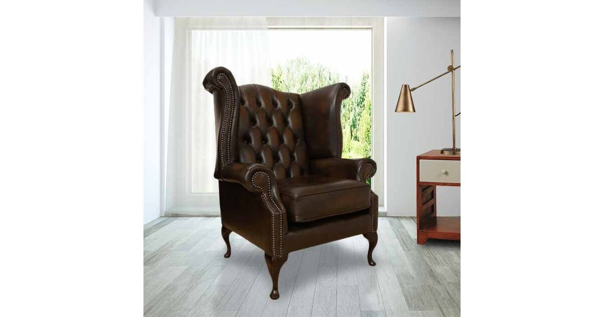 Antique Brown Chesterfield Queen Anne Wing Chair Shop