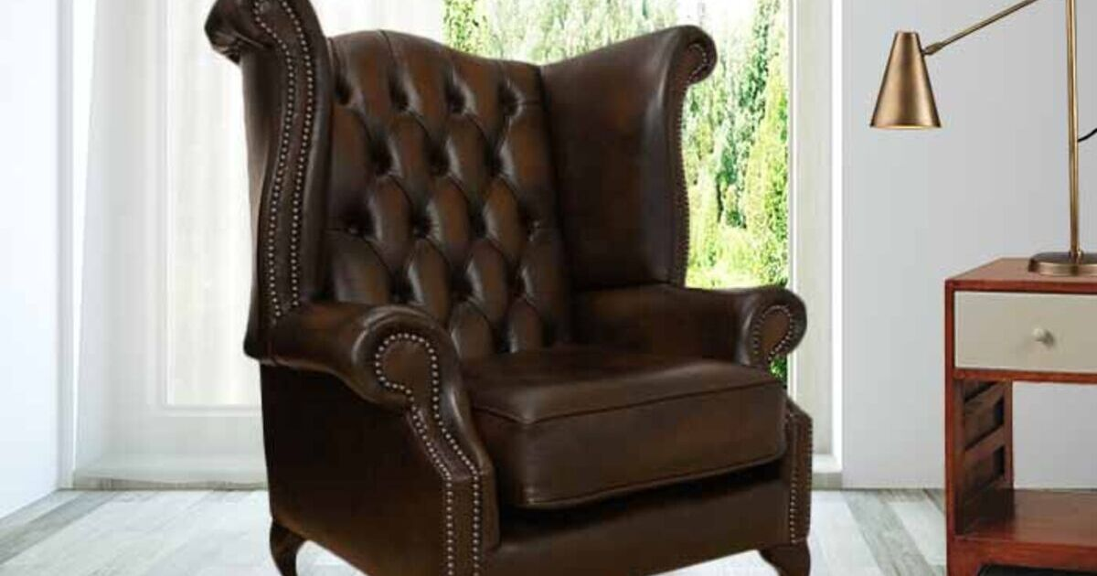 Brown Chesterfield Queen Anne High Back Chair